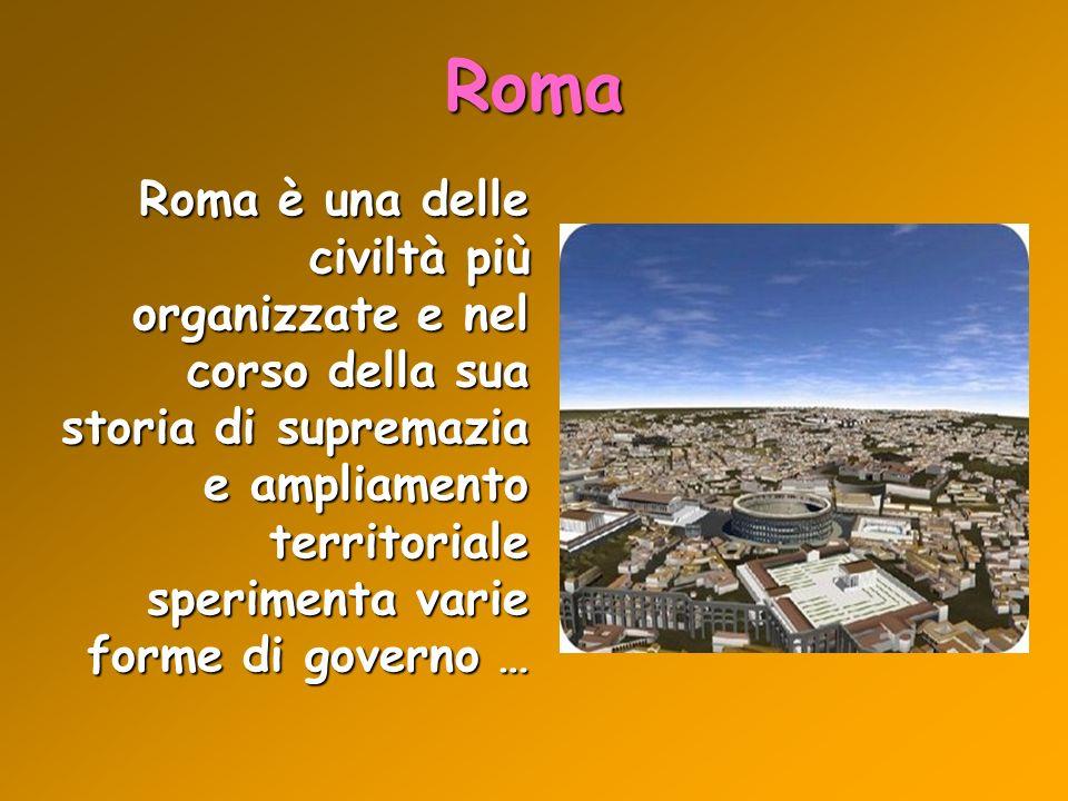 Roma Roma è una delle civiltà più organizzate e nel corso della sua storia di supremazia e ampliamento territoriale sperimenta varie forme di governo