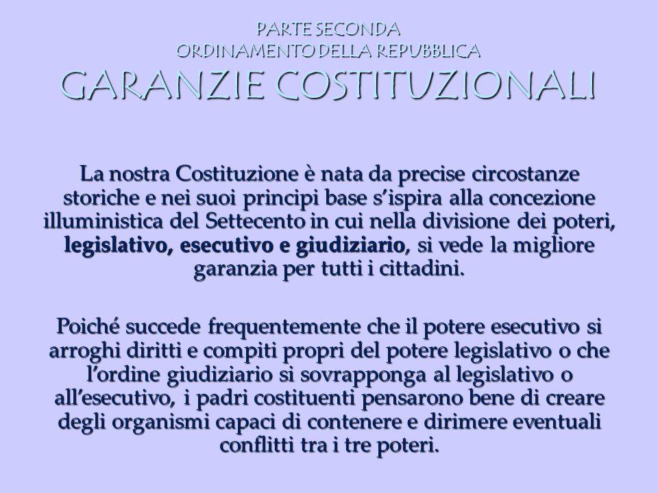 PARTE SECONDA ORDINAMENTO DELLA REPUBBLICA GARANZIE COSTITUZIONALI La nostra Costituzione è nata da precise circostanze storiche e nei suoi principi b
