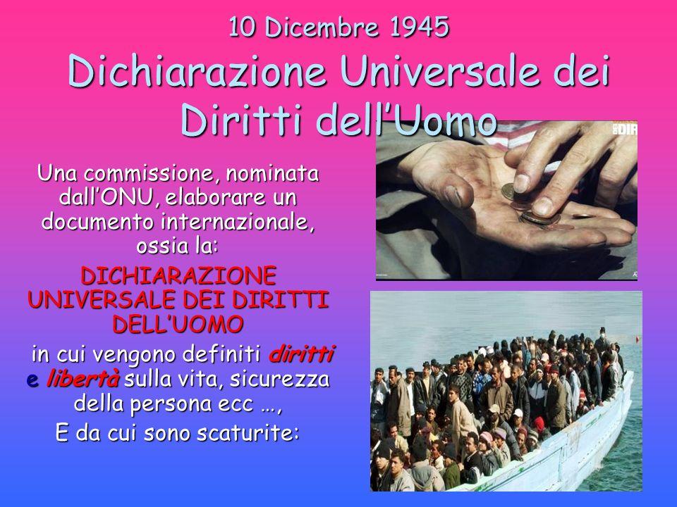 10 Dicembre 1945 Dichiarazione Universale dei Diritti dellUomo Una commissione, nominata dallONU, elaborare un documento internazionale, ossia la: DIC