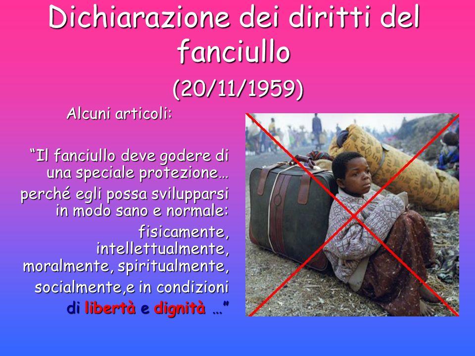 Dichiarazione dei diritti del fanciullo (20/11/1959) Alcuni articoli: Alcuni articoli: Il fanciullo deve godere di una speciale protezione… perché egl