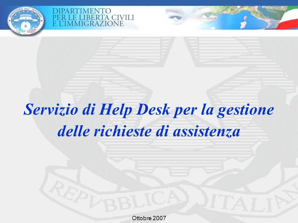 Ottobre 2007 Servizio di Help Desk per la gestione delle richieste di assistenza