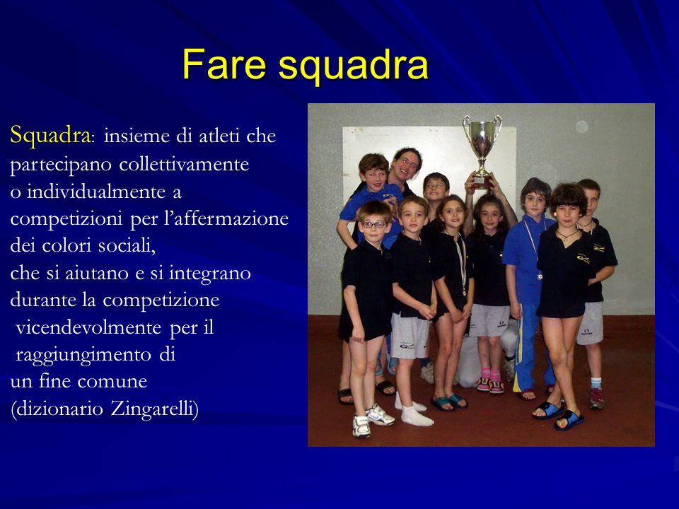 Fare squadra Squadra : insieme di atleti che partecipano collettivamente o individualmente a competizioni per laffermazione dei colori sociali, che si