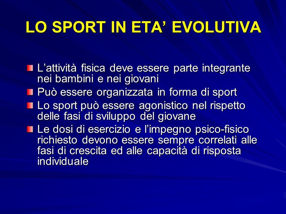 Lattività fisica deve essere parte integrante nei bambini e nei giovani Può essere organizzata in forma di sport Lo sport può essere agonistico nel ri