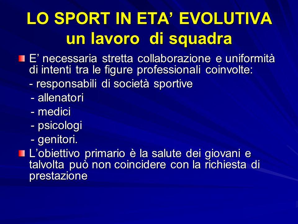 E necessaria stretta collaborazione e uniformità di intenti tra le figure professionali coinvolte: - responsabili di società sportive - allenatori - a