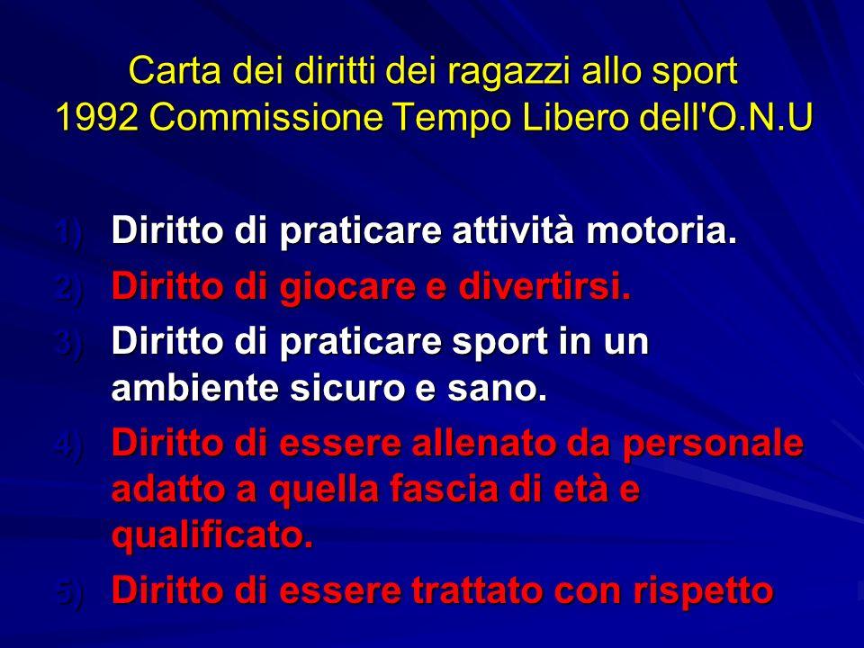 Carta dei diritti dei ragazzi allo sport 1992 Commissione Tempo Libero dell'O.N.U 1) Diritto di praticare attività motoria. 2) Diritto di giocare e di