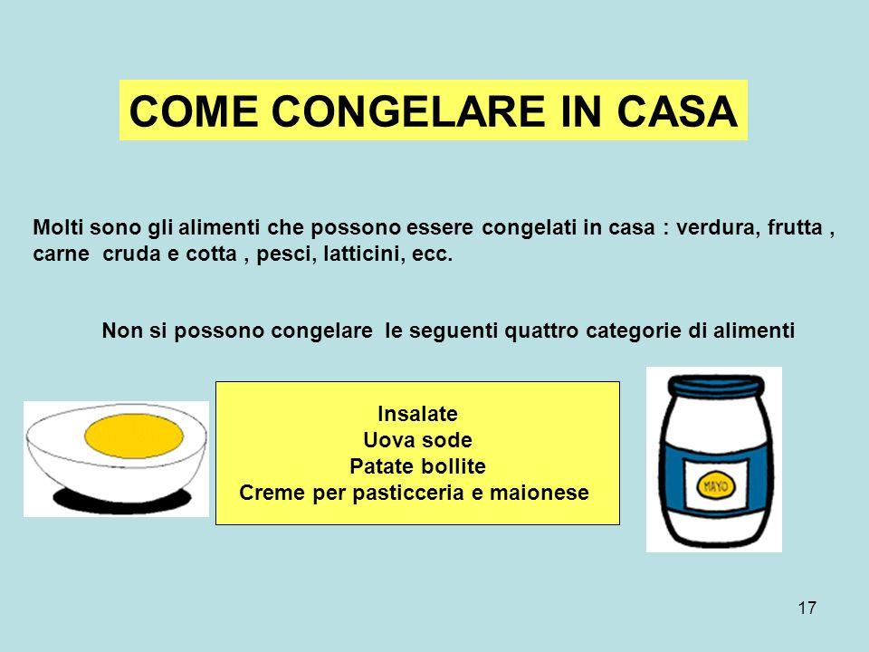 17 COME CONGELARE IN CASA Molti sono gli alimenti che possono essere congelati in casa : verdura, frutta, carne cruda e cotta, pesci, latticini, ecc.