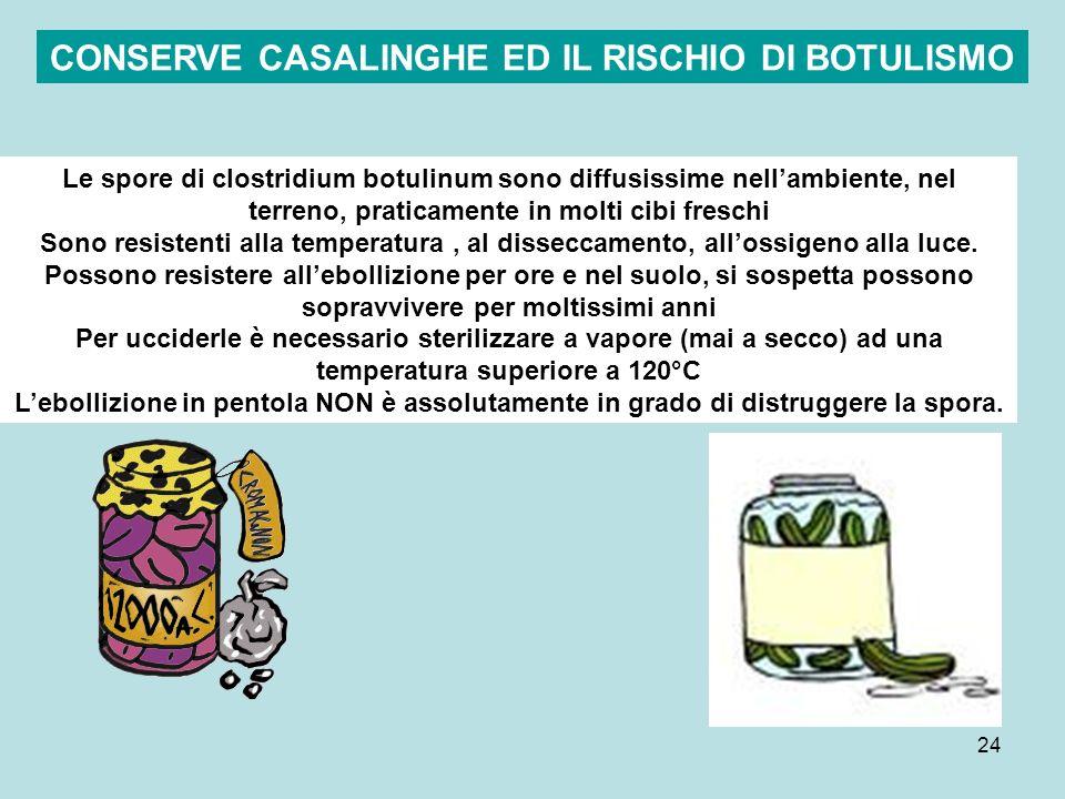 24 Le spore di clostridium botulinum sono diffusissime nellambiente, nel terreno, praticamente in molti cibi freschi Sono resistenti alla temperatura,