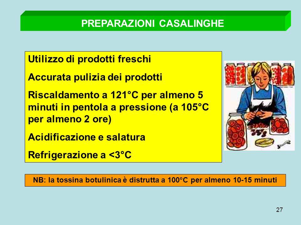 27 PREPARAZIONI CASALINGHE Utilizzo di prodotti freschi Accurata pulizia dei prodotti Riscaldamento a 121°C per almeno 5 minuti in pentola a pressione