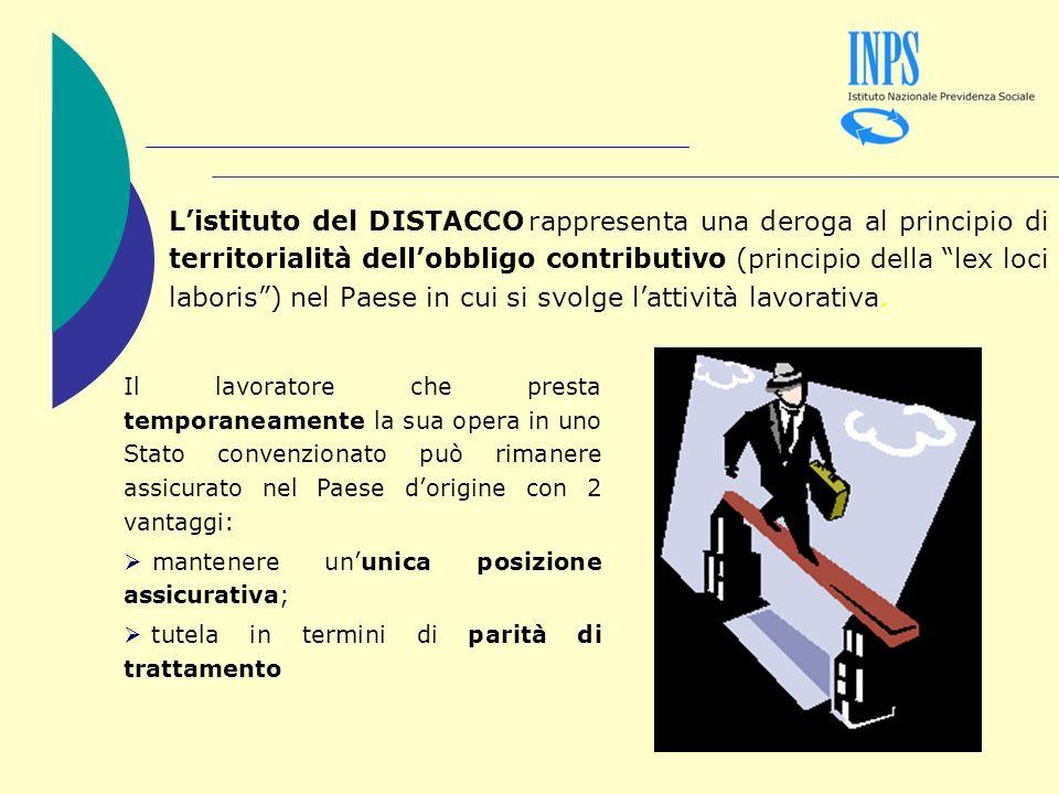 Listituto del DISTACCO rappresenta una deroga al principio di territorialità dellobbligo contributivo (principio della lex loci laboris) nel Paese in cui si svolge lattività lavorativa.