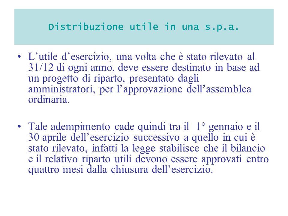 Distribuzione utile in una s.p.a. Lutile desercizio, una volta che è stato rilevato al 31/12 di ogni anno, deve essere destinato in base ad un progett