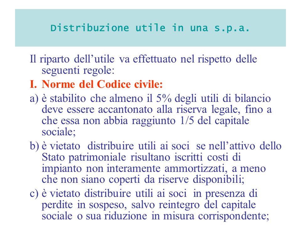 Distribuzione utile in una s.p.a. Il riparto dellutile va effettuato nel rispetto delle seguenti regole: I.Norme del Codice civile: a)è stabilito che