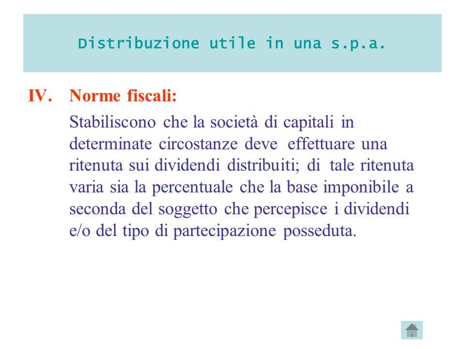Distribuzione utile in una s.p.a. IV.Norme fiscali: Stabiliscono che la società di capitali in determinate circostanze deve effettuare una ritenuta su