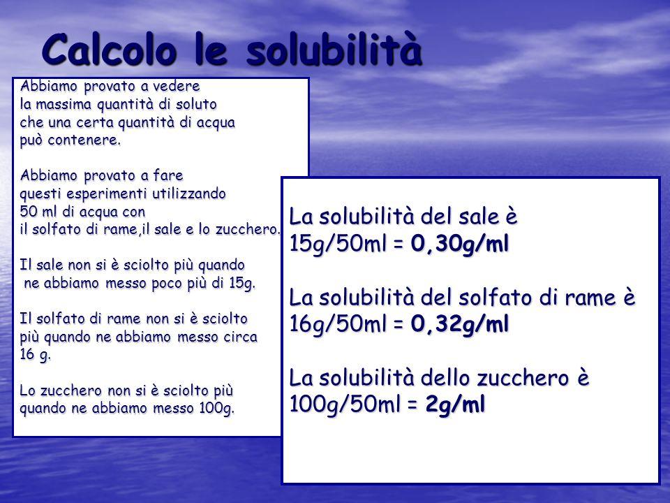 Calcolo le solubilità Abbiamo provato a vedere la massima quantità di soluto che una certa quantità di acqua può contenere. Abbiamo provato a fare que
