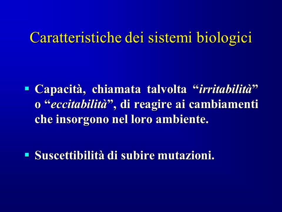 Caratteristiche dei sistemi biologici Capacità, chiamata talvolta irritabilità o eccitabilità, di reagire ai cambiamenti che insorgono nel loro ambien