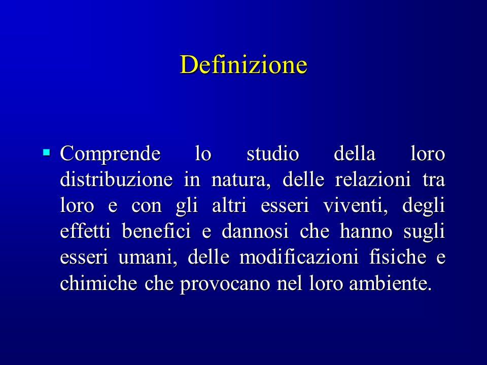 Definizione Comprende lo studio della loro distribuzione in natura, delle relazioni tra loro e con gli altri esseri viventi, degli effetti benefici e