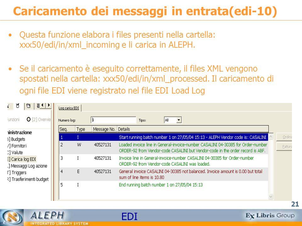 EDI 21 Caricamento dei messaggi in entrata(edi-10) Questa funzione elabora i files presenti nella cartella: xxx50/edi/in/xml_incoming e li carica in ALEPH.