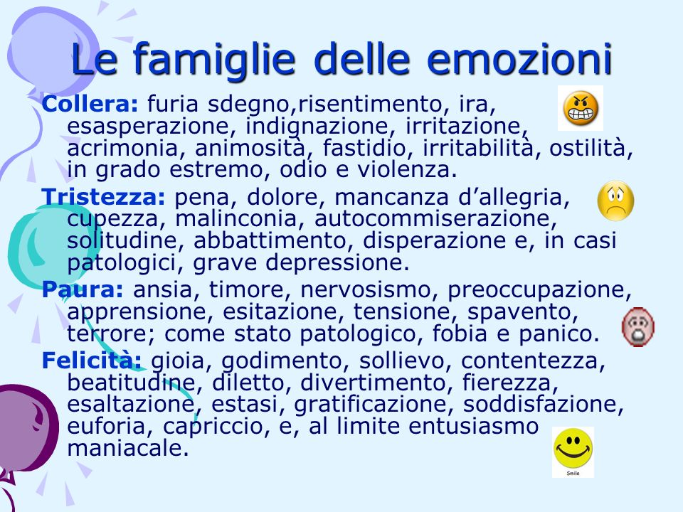 Le famiglie delle emozioni Collera: furia sdegno,risentimento, ira, esasperazione, indignazione, irritazione, acrimonia, animosità, fastidio, irritabi