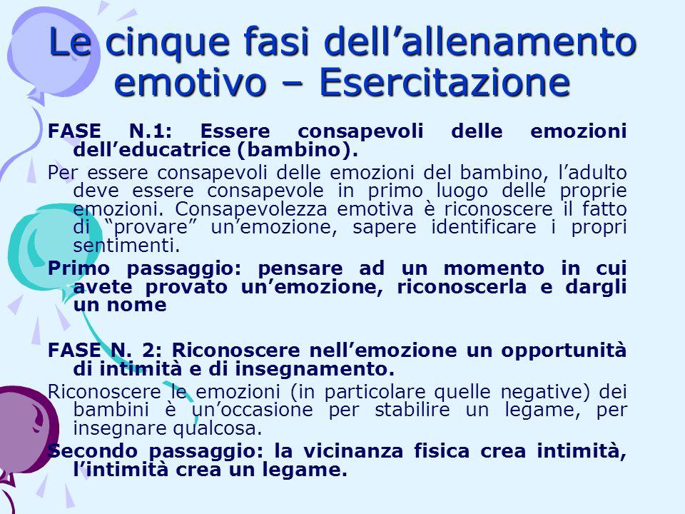 Le cinque fasi dellallenamento emotivo – Esercitazione FASE N.1: Essere consapevoli delle emozioni delleducatrice (bambino). Per essere consapevoli de