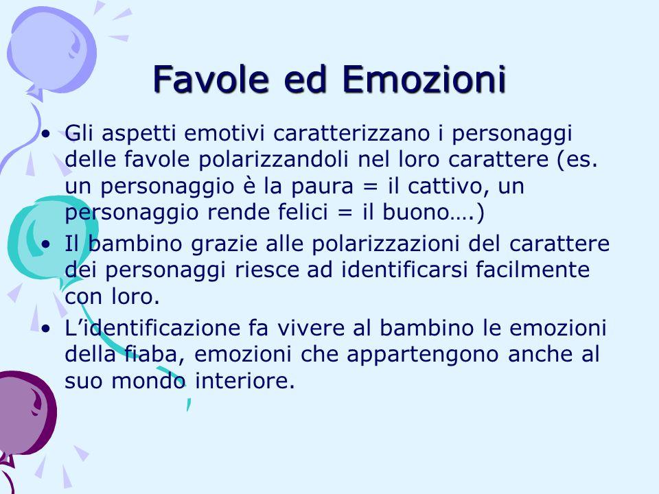 Favole ed Emozioni Gli aspetti emotivi caratterizzano i personaggi delle favole polarizzandoli nel loro carattere (es. un personaggio è la paura = il