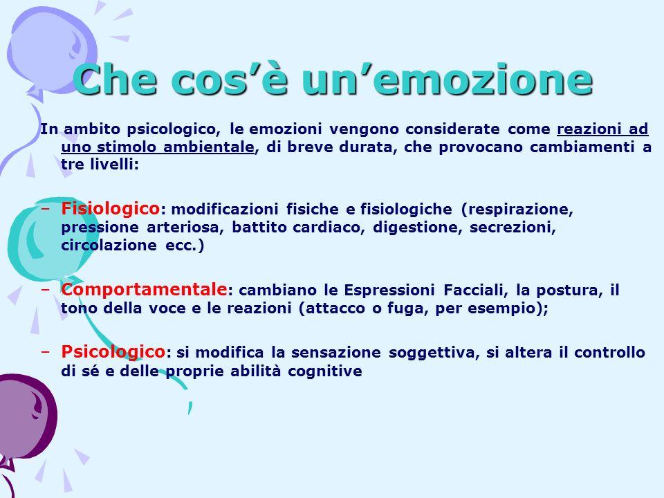 Che cosè unemozione In ambito psicologico, le emozioni vengono considerate come reazioni ad uno stimolo ambientale, di breve durata, che provocano cam