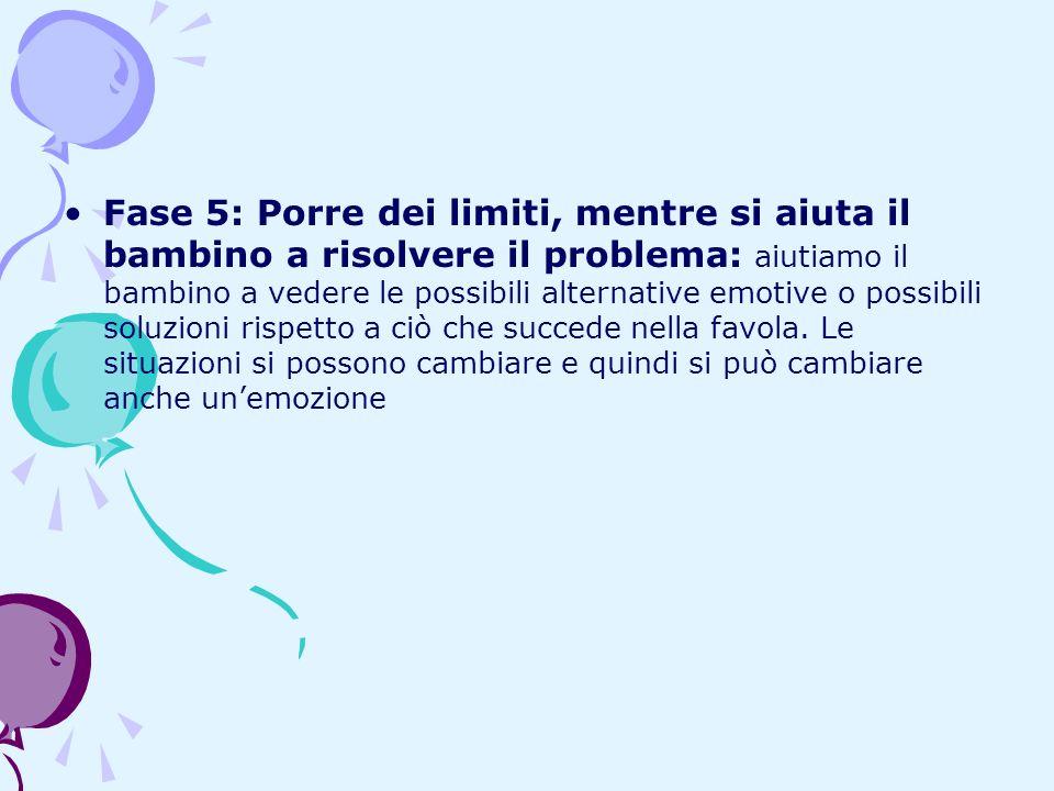 Fase 5: Porre dei limiti, mentre si aiuta il bambino a risolvere il problema: aiutiamo il bambino a vedere le possibili alternative emotive o possibil