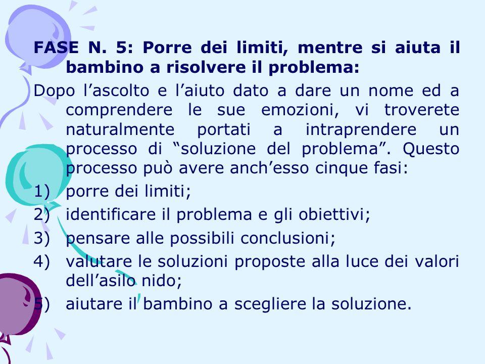 FASE N. 5: Porre dei limiti, mentre si aiuta il bambino a risolvere il problema: Dopo lascolto e laiuto dato a dare un nome ed a comprendere le sue em