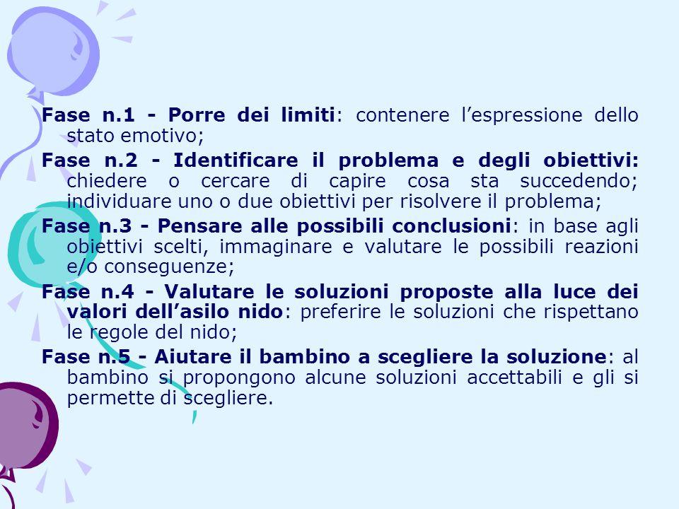 Fase n.1 - Porre dei limiti: contenere lespressione dello stato emotivo; Fase n.2 - Identificare il problema e degli obiettivi: chiedere o cercare di