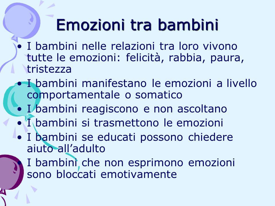Emozioni tra bambini I bambini nelle relazioni tra loro vivono tutte le emozioni: felicità, rabbia, paura, tristezza I bambini manifestano le emozioni
