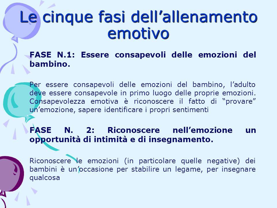 Le cinque fasi dellallenamento emotivo FASE N.1: Essere consapevoli delle emozioni del bambino. Per essere consapevoli delle emozioni del bambino, lad