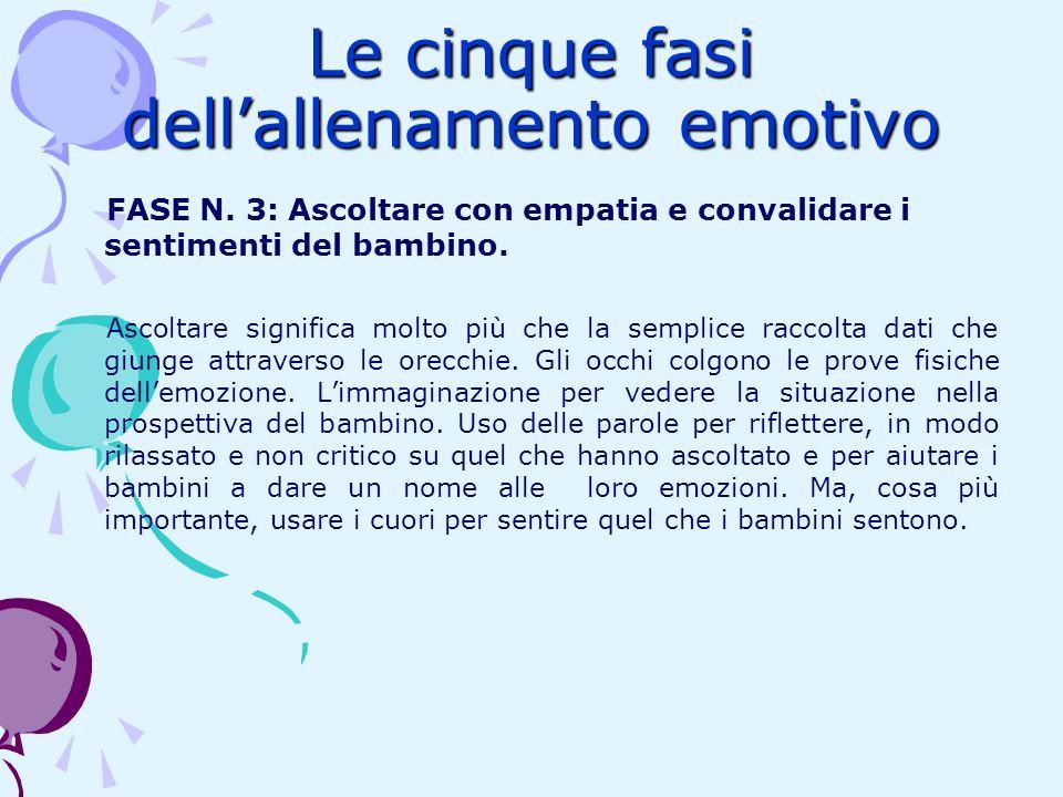 Le cinque fasi dellallenamento emotivo FASE N. 3: Ascoltare con empatia e convalidare i sentimenti del bambino. Ascoltare significa molto più che la s