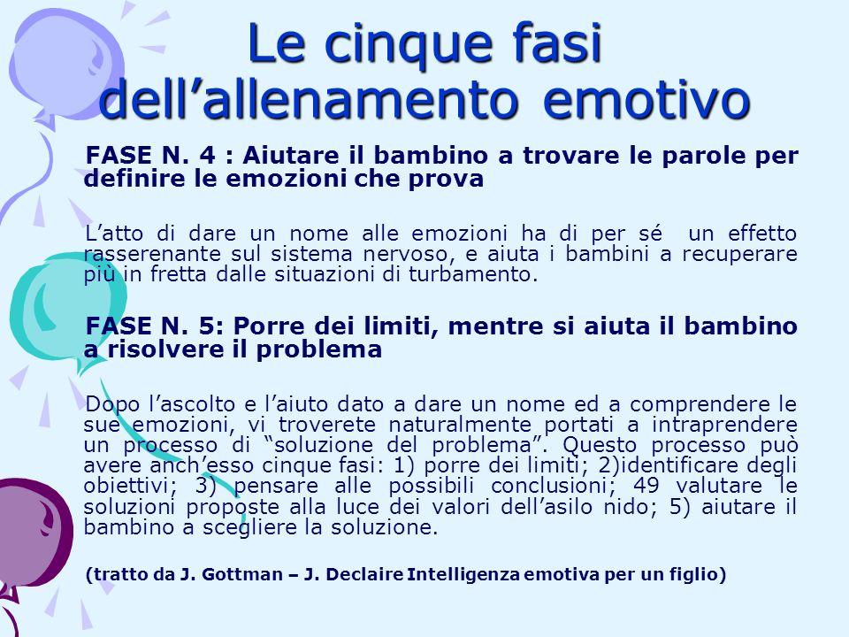 Le cinque fasi dellallenamento emotivo FASE N. 4 : Aiutare il bambino a trovare le parole per definire le emozioni che prova Latto di dare un nome all
