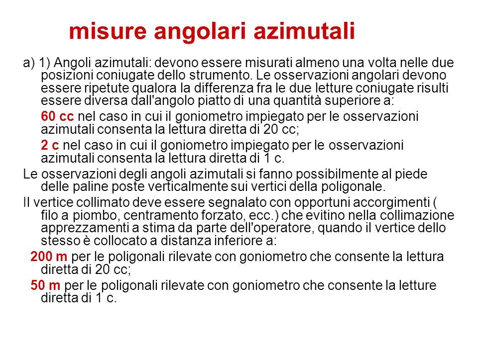 misure angolari azimutali a) 1) Angoli azimutali: devono essere misurati almeno una volta nelle due posizioni coniugate dello strumento. Le osservazio