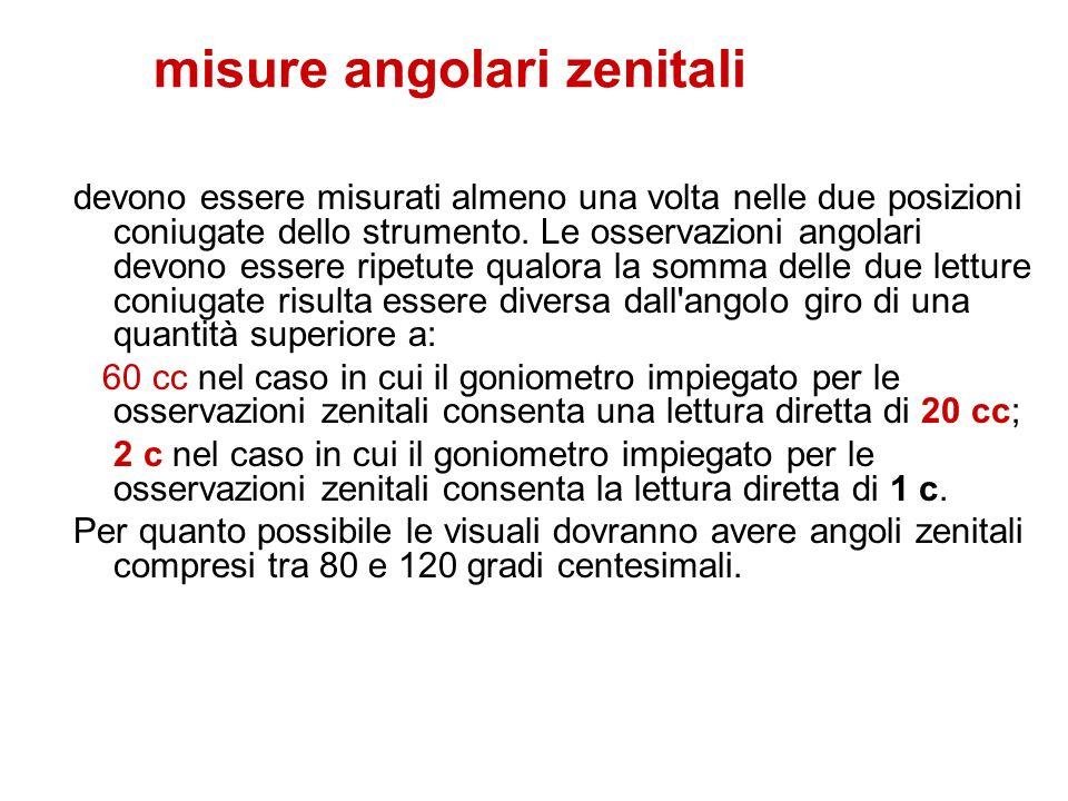 misure angolari zenitali devono essere misurati almeno una volta nelle due posizioni coniugate dello strumento. Le osservazioni angolari devono essere