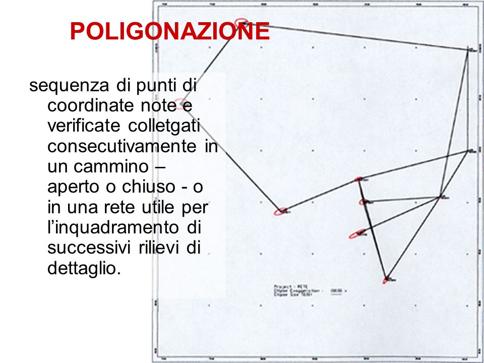 POLIGONAZIONE sequenza di punti di coordinate note e verificate colletgati consecutivamente in un cammino – aperto o chiuso - o in una rete utile per