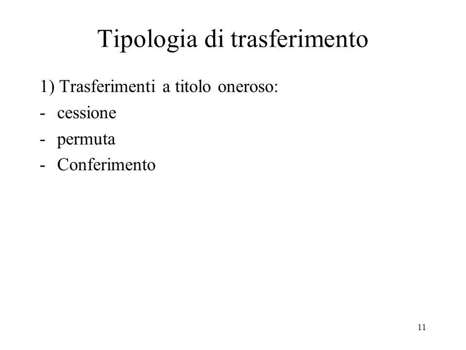 11 Tipologia di trasferimento 1) Trasferimenti a titolo oneroso: -cessione -permuta -Conferimento