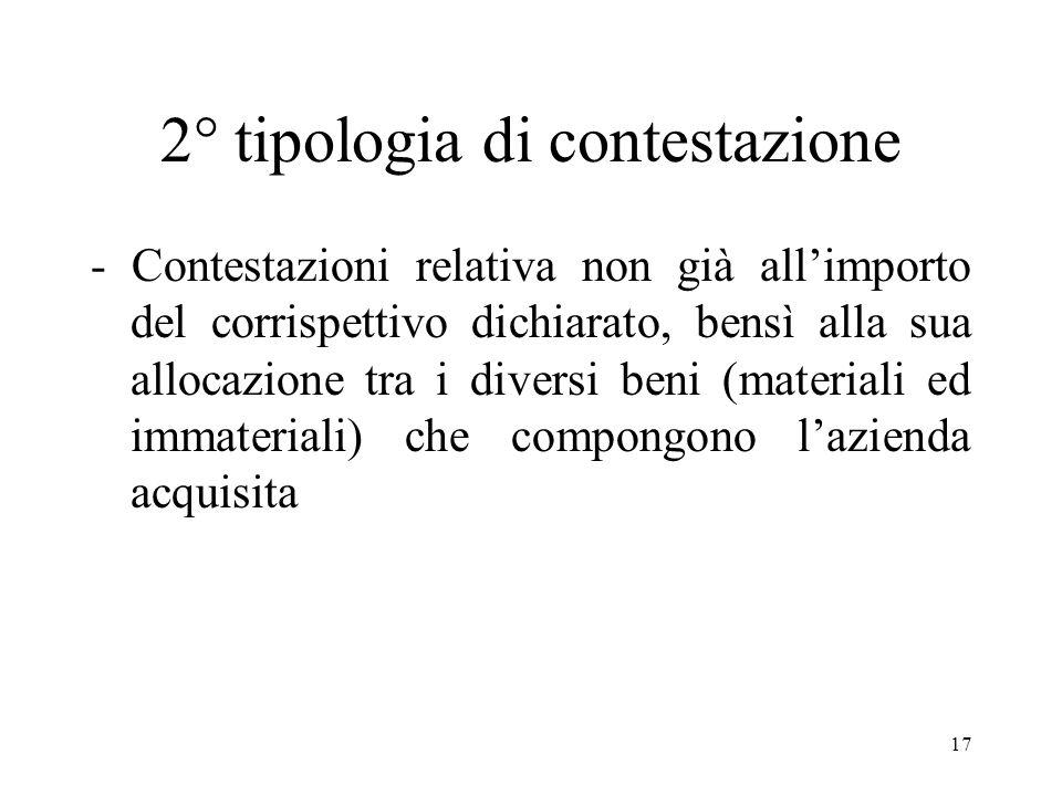 17 2° tipologia di contestazione - Contestazioni relativa non già allimporto del corrispettivo dichiarato, bensì alla sua allocazione tra i diversi beni (materiali ed immateriali) che compongono lazienda acquisita