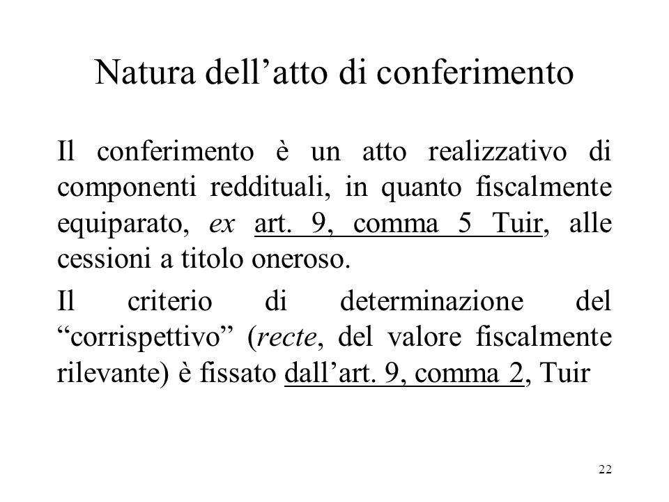 22 Natura dellatto di conferimento Il conferimento è un atto realizzativo di componenti reddituali, in quanto fiscalmente equiparato, ex art.
