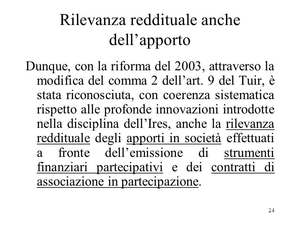 24 Rilevanza reddituale anche dellapporto Dunque, con la riforma del 2003, attraverso la modifica del comma 2 dellart.