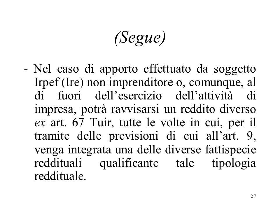 27 (Segue) - Nel caso di apporto effettuato da soggetto Irpef (Ire) non imprenditore o, comunque, al di fuori dellesercizio dellattività di impresa, potrà ravvisarsi un reddito diverso ex art.
