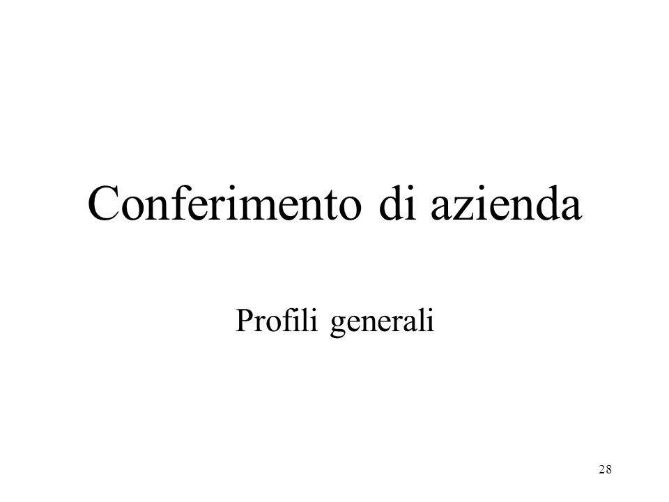 28 Conferimento di azienda Profili generali