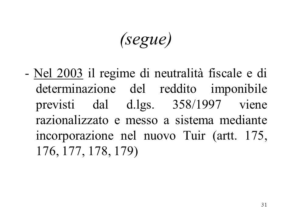 31 (segue) - Nel 2003 il regime di neutralità fiscale e di determinazione del reddito imponibile previsti dal d.lgs.