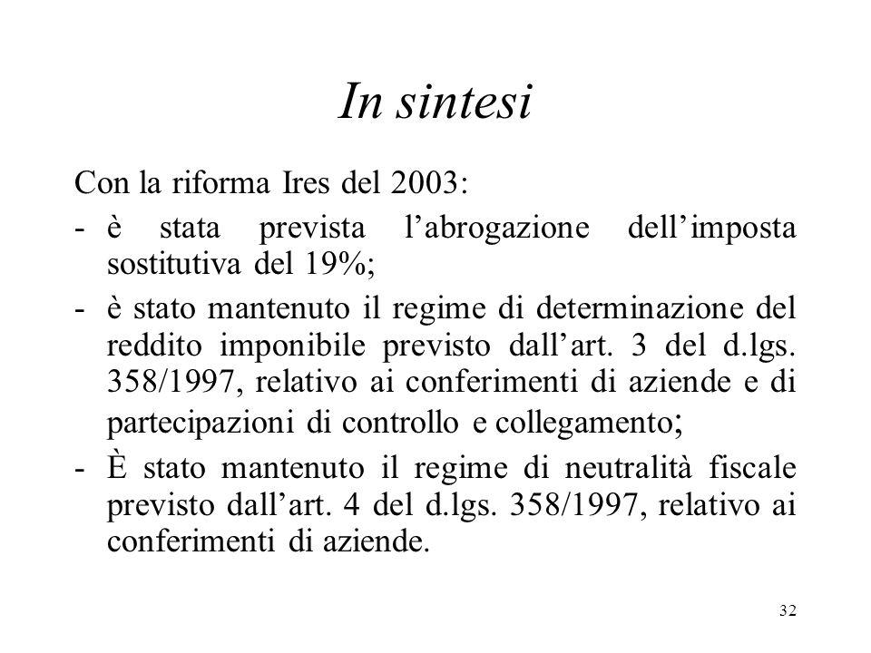32 In sintesi Con la riforma Ires del 2003: -è stata prevista labrogazione dellimposta sostitutiva del 19%; -è stato mantenuto il regime di determinazione del reddito imponibile previsto dallart.