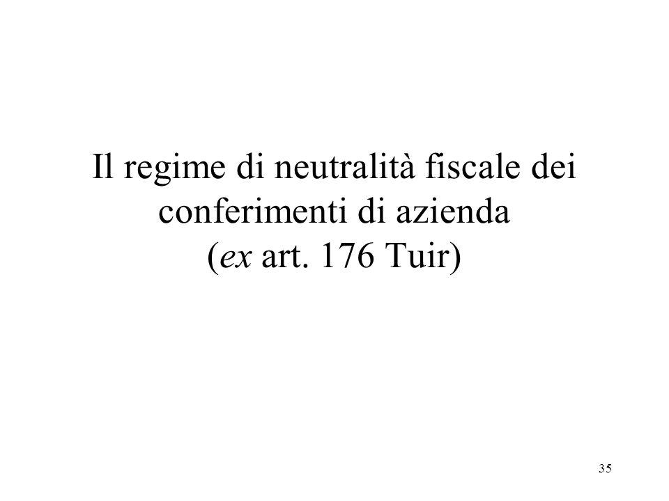 35 Il regime di neutralità fiscale dei conferimenti di azienda (ex art. 176 Tuir)
