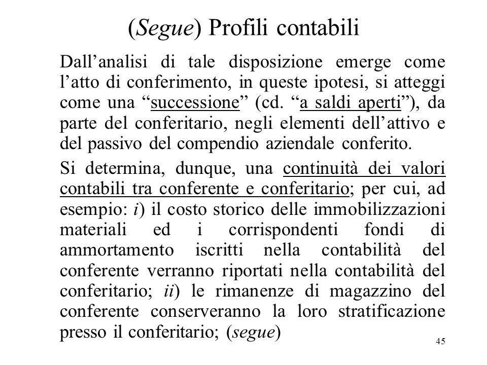 45 (Segue) Profili contabili Dallanalisi di tale disposizione emerge come latto di conferimento, in queste ipotesi, si atteggi come una successione (cd.