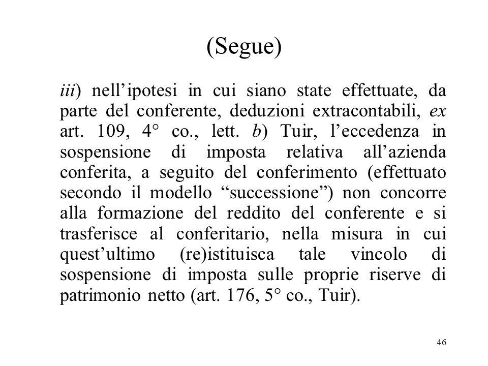 46 (Segue) iii) nellipotesi in cui siano state effettuate, da parte del conferente, deduzioni extracontabili, ex art.
