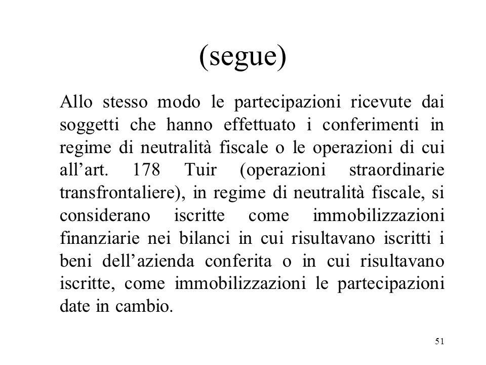 51 (segue) Allo stesso modo le partecipazioni ricevute dai soggetti che hanno effettuato i conferimenti in regime di neutralità fiscale o le operazioni di cui allart.