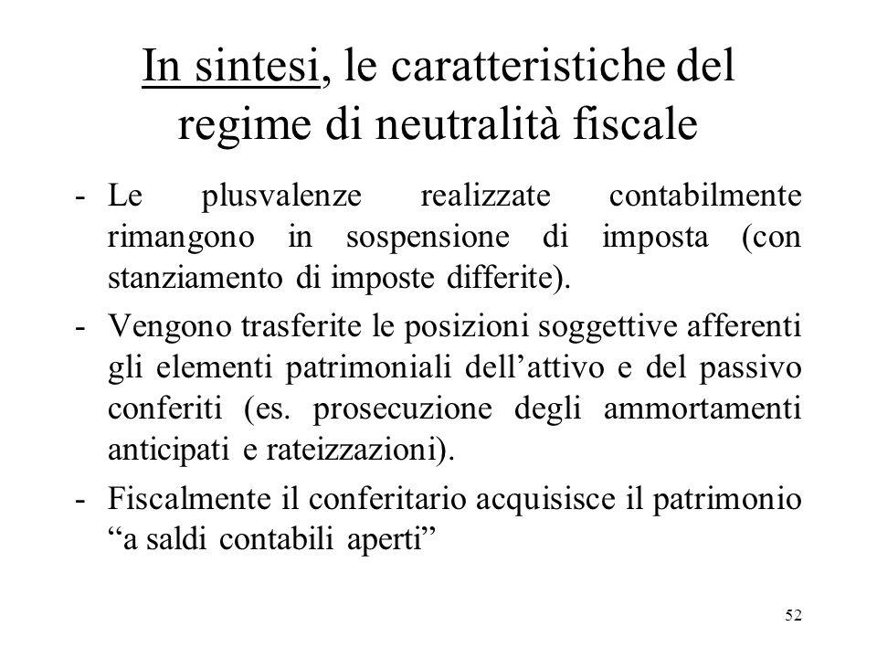 52 In sintesi, le caratteristiche del regime di neutralità fiscale -Le plusvalenze realizzate contabilmente rimangono in sospensione di imposta (con stanziamento di imposte differite).