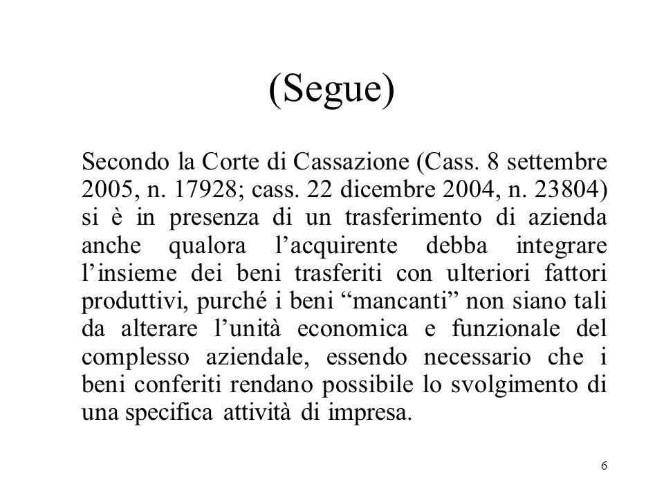 6 (Segue) Secondo la Corte di Cassazione (Cass. 8 settembre 2005, n.