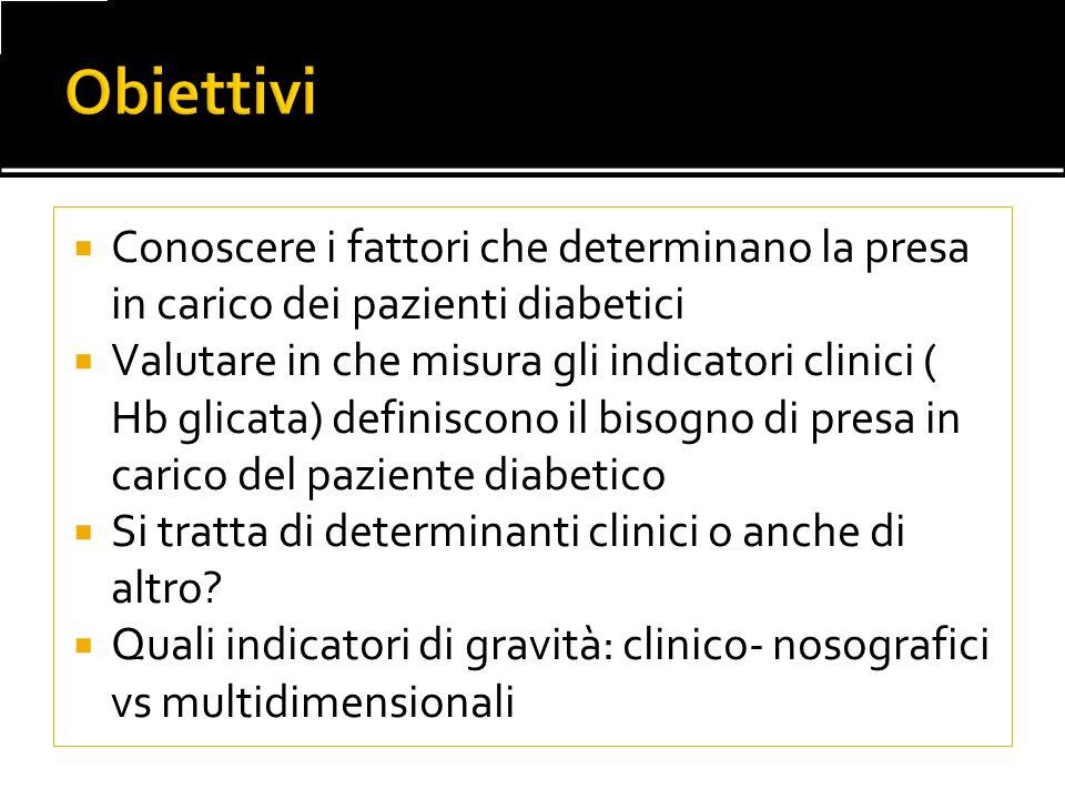 Conoscere i fattori che determinano la presa in carico dei pazienti diabetici Valutare in che misura gli indicatori clinici ( Hb glicata) definiscono