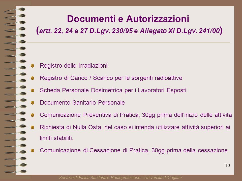 10 Documenti e Autorizzazioni ( artt. 22, 24 e 27 D.Lgv.
